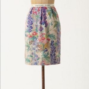 Floreat from Anthropologie 50% Linen Floral Skirt